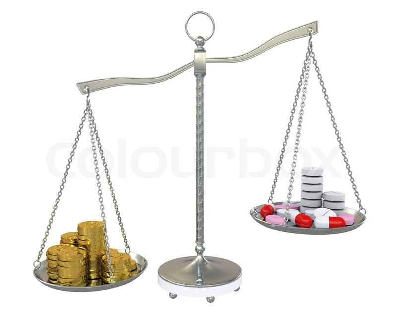 Money And Pills In The Gold Balance Scales Stock Photo
