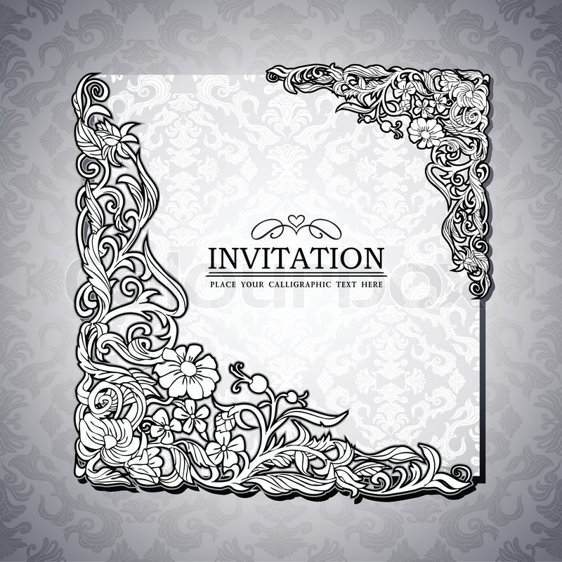 Abstract Background With Antique Luxury Black And White Vintage Rich Frame Banner Damask Floral Ornaments Invitation Card Baroque Style Booklet