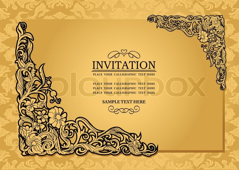 Abstract background with antique luxury gold vintage frame abstract background with antique luxury gold vintage frame victorian banner damask floral wallpaper ornament invitation card baroque style booklet stopboris Images