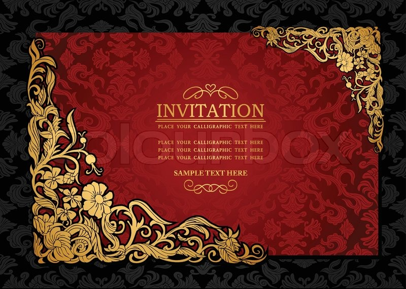 Abstract background with antique luxury red and gold vintage frame abstract background with antique luxury red and gold vintage frame victorian banner damask floral wallpaper ornament invitation card baroque style stopboris Images