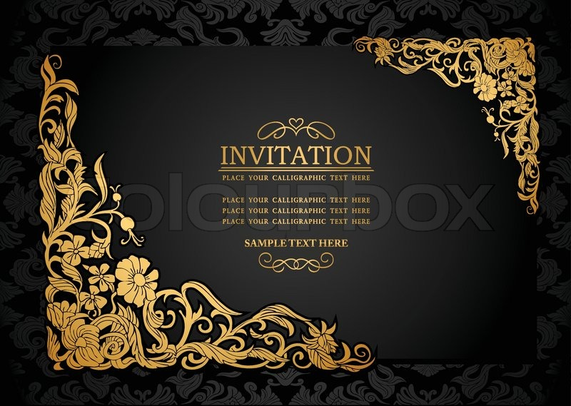 Abstract background with antique luxury black and gold vintage abstract background with antique luxury black and gold vintage frame victorian banner damask floral wallpaper ornaments invitation card baroque style stopboris Images