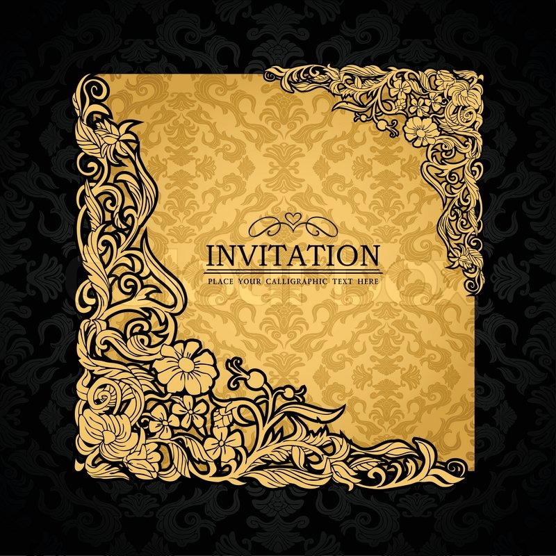 Luxury wedding invitation with golden ornaments on a black background - Abstract Background With Antique Luxury Gold Vintage