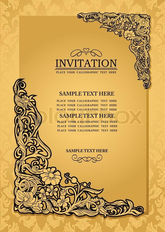 Frame design for wedding invitation vector border in victorian style - Abstract Background With Antique Luxury Gold Vintage