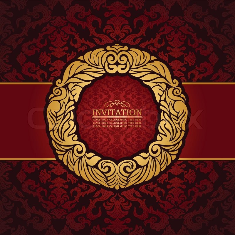 Abstract background with antique, luxury red and gold vintage frame, victorian banner, floral ...