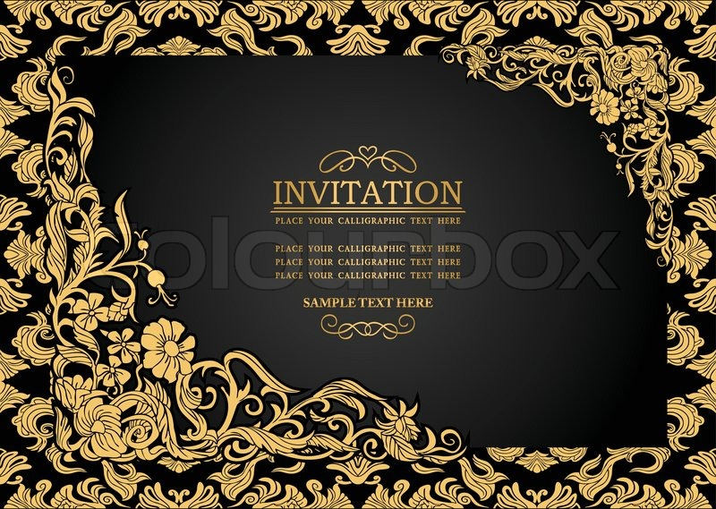 Abstract background with antique, luxury black and gold vintage frame ...