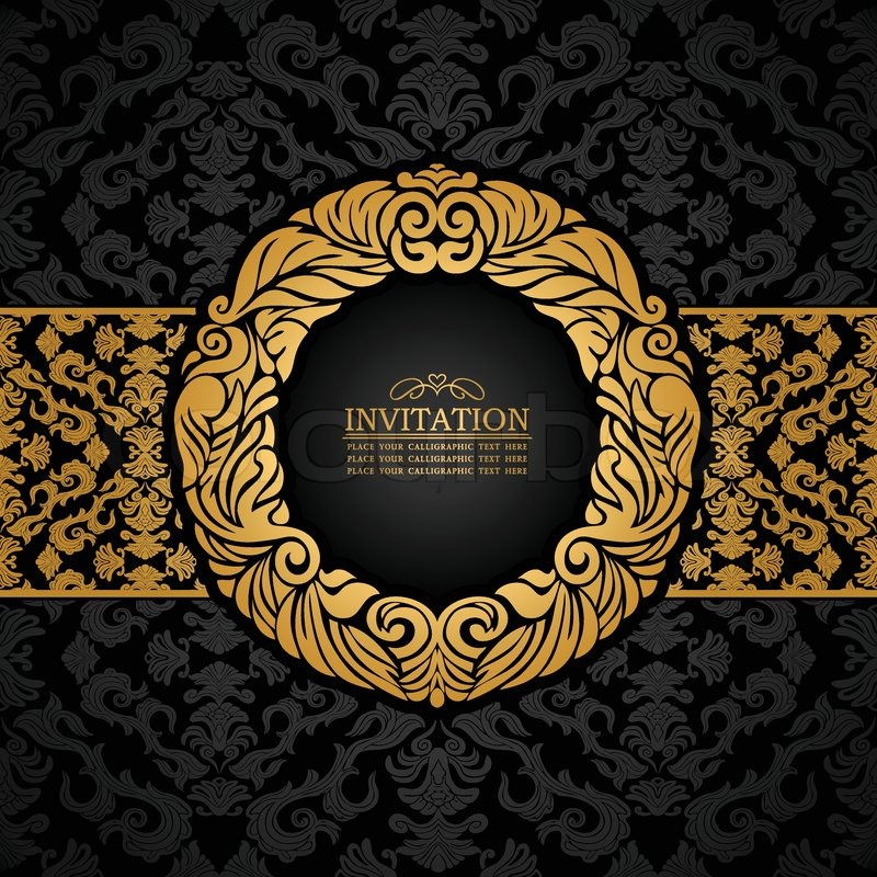 Abstract background with antique luxury black and gold vintage abstract background with antique luxury black and gold vintage frame ornate banner damask floral wallpaper ornaments invitation card baroque style stopboris Choice Image