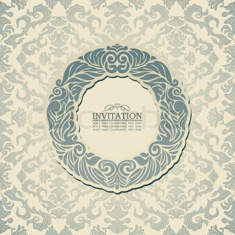 Abstract background with blue vintage frame, old style banner ...