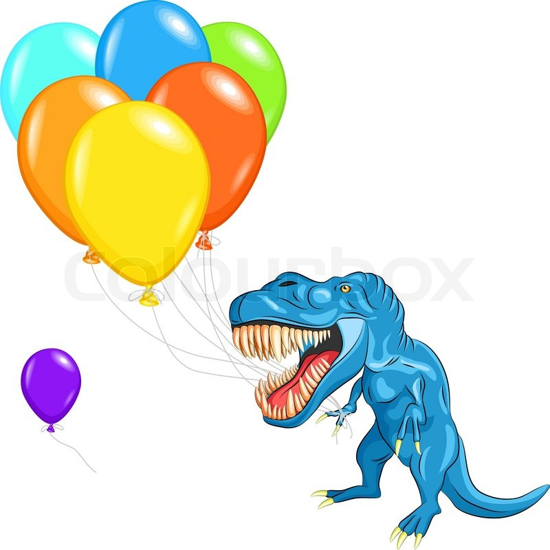 Vector happy blue dinosaur tyrannosaurs with multi-colored balloons, vector