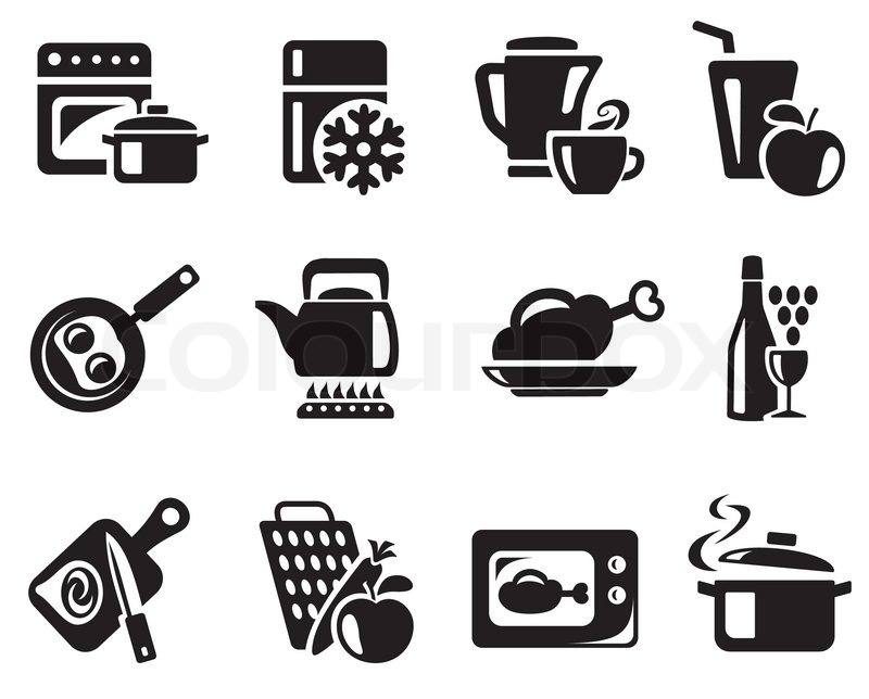 Kitchen and cooking icon set stock vector colourbox for Kitchen set vector