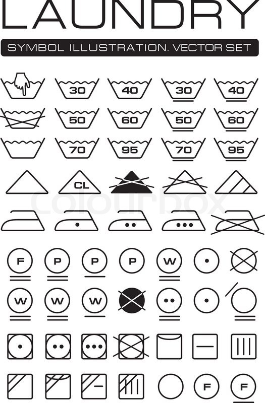 photograph regarding Laundry Symbols Printable known as Laundry Symbols Choice Inventory vector Colourbox