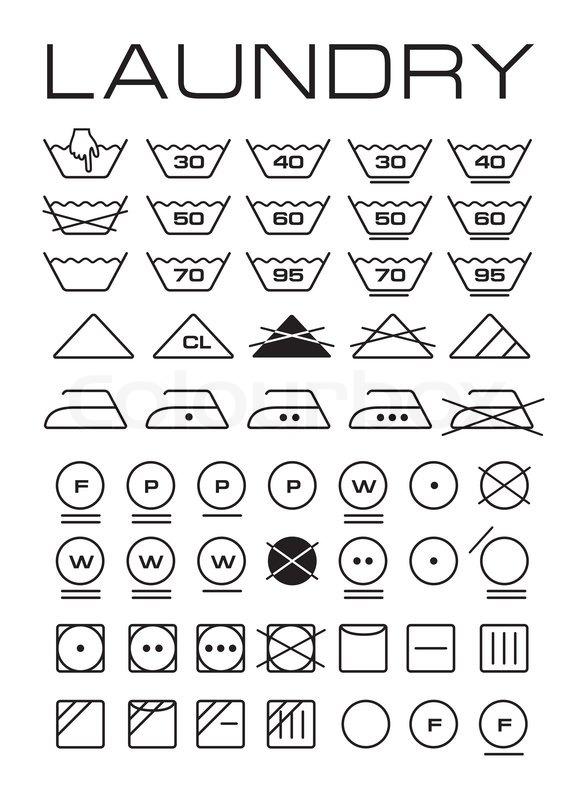 Set Of Washing Symbols Stock Photo Colourbox