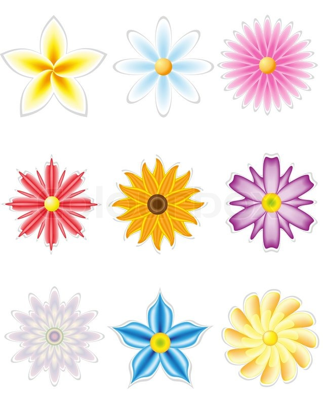 Icon Set Of Flowers For Design Stock Vector Colourbox