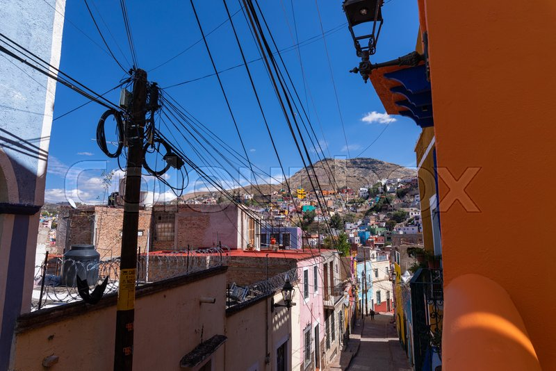 Colored colonial houses in old town of ...