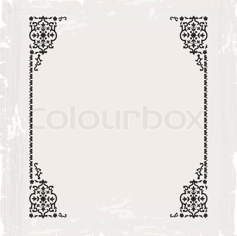 frame border design. Plain Frame Calligraphic Ornate Vintage Frame Border Decorative Design  Stock Vector  Colourbox To Frame Border Design