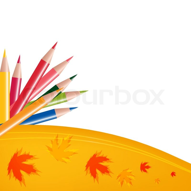 Abstract background with color pencils and leaves Back to ...