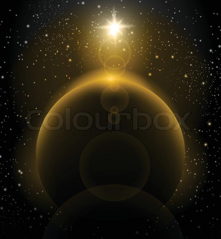 Strahlende sonne ber erde planeten weltraum hintergrund for Dekor weltraum