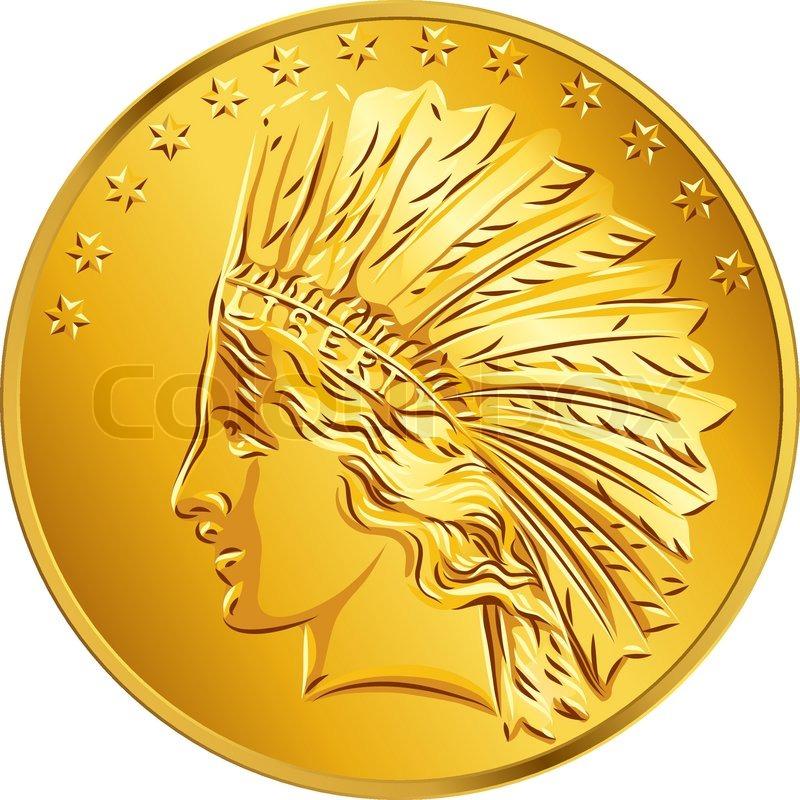 Vector American Money Gold Coin Dollar Stock Vector