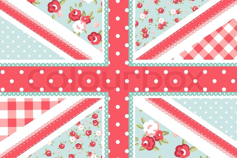 Cute British Flag In Shabby Chic Floral Style Stock