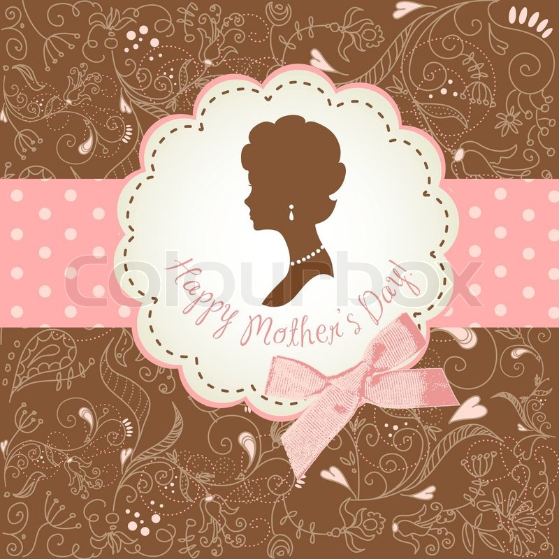 Mother\'s day card Cute vintage frames with ladies silhouettes ...