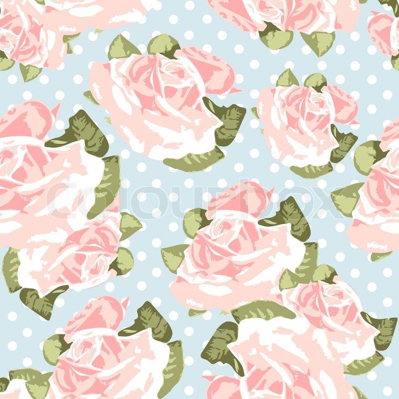 Beautiful Seamless Rose Pattern With Blue Polka Dot
