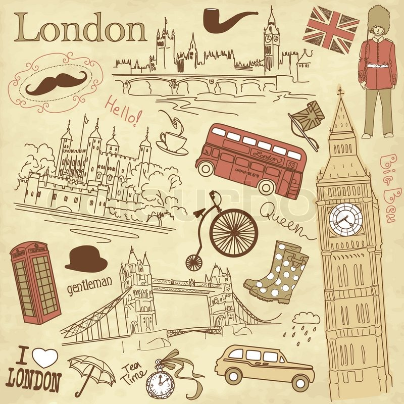 Stock vector of 'Vintage London doodles'