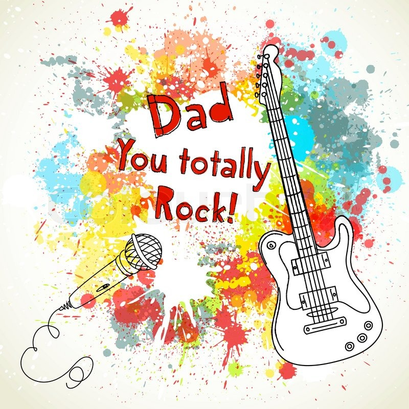 Stock vector of 'Happy Father's Day card, with guitar and microphone'
