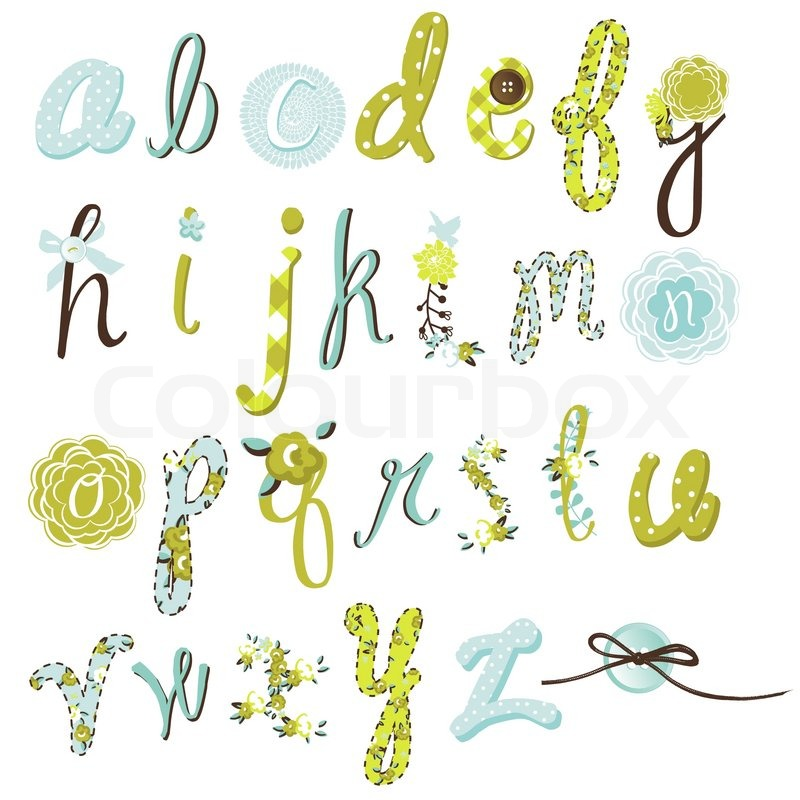 Unique Vector Flower Font Amazing Hand Drawn Alphabet Vector 4351164 on Letter Gg Craft