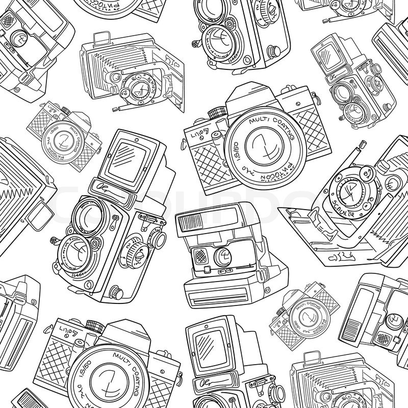 Seamless Hand Drawn Old Camera Pattern Black And White
