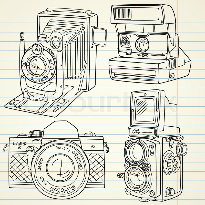 Cool Hand Drawn Old Camera Set All Time Legends Stock Vector Colourbox