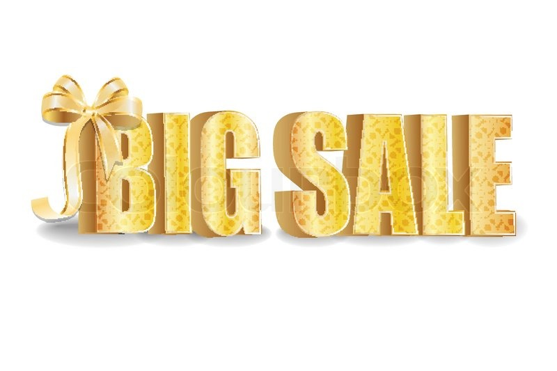 3D Big Sale, Made Of Pure, Beautiful Luxury Gold, Vector