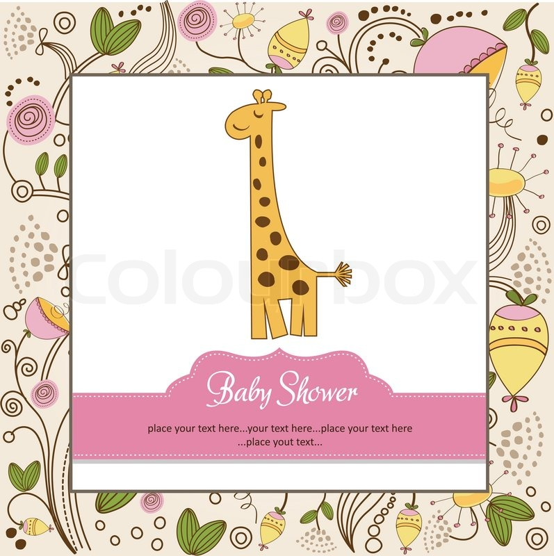 Vector of 'Baby shower invitation with giraffe'