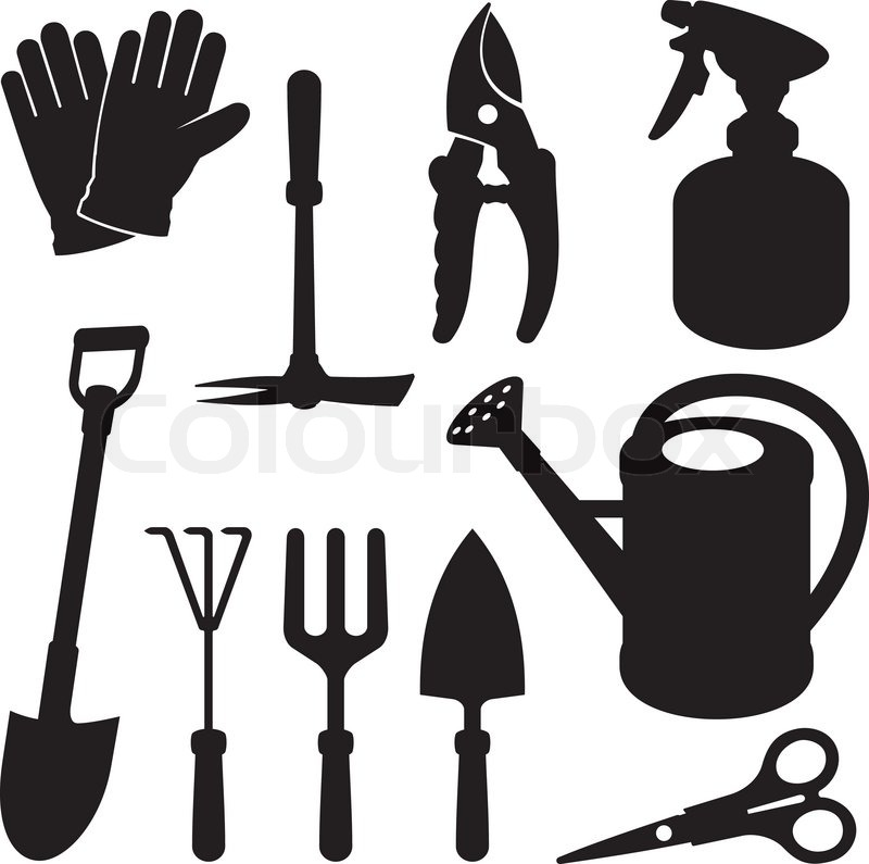 Gardening silhouettes stock vector colourbox for Gardening tools wikipedia