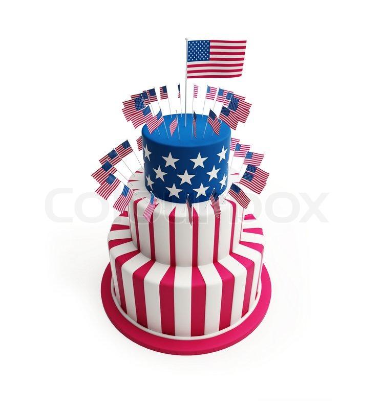 Single White Star Blue Flag Cake