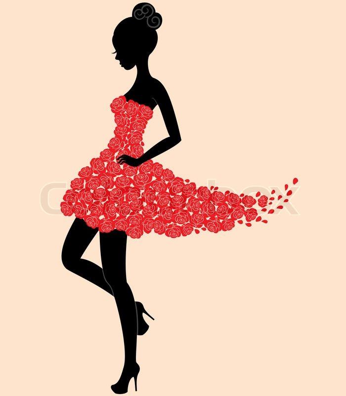 Dancer girl in dress of roses | Stock Vector | Colourbox