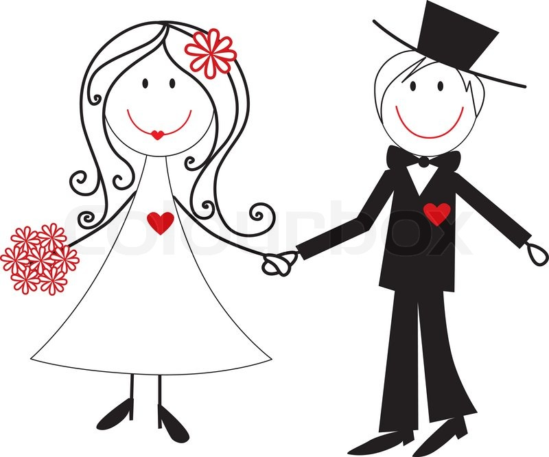 cartoon wedding couple illustration stock vector colourbox rh colourbox com cartoon wedding pictures clip art funny cartoon wedding pictures