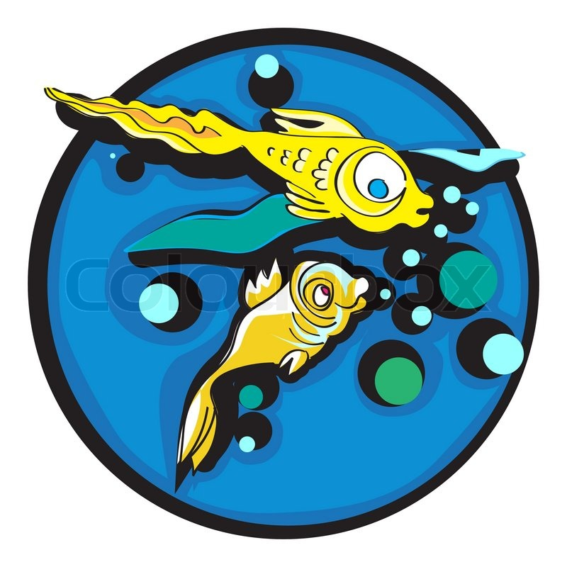 Handgezeichnete Grafik Illustration von zwei goldenen Fischen ...