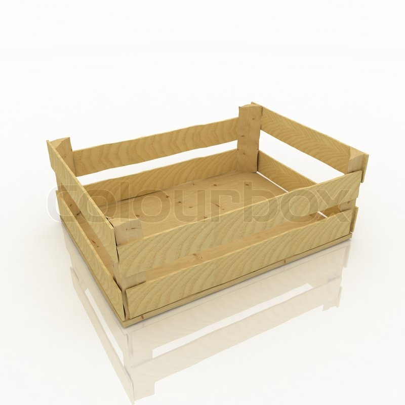 Empty Wooden Box Container For Fruits And Vegetables | Stock Photo |  Colourbox