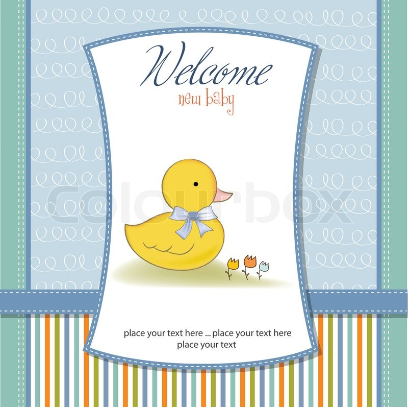 Baby shower invitation with duck | Stock Vector | Colourbox