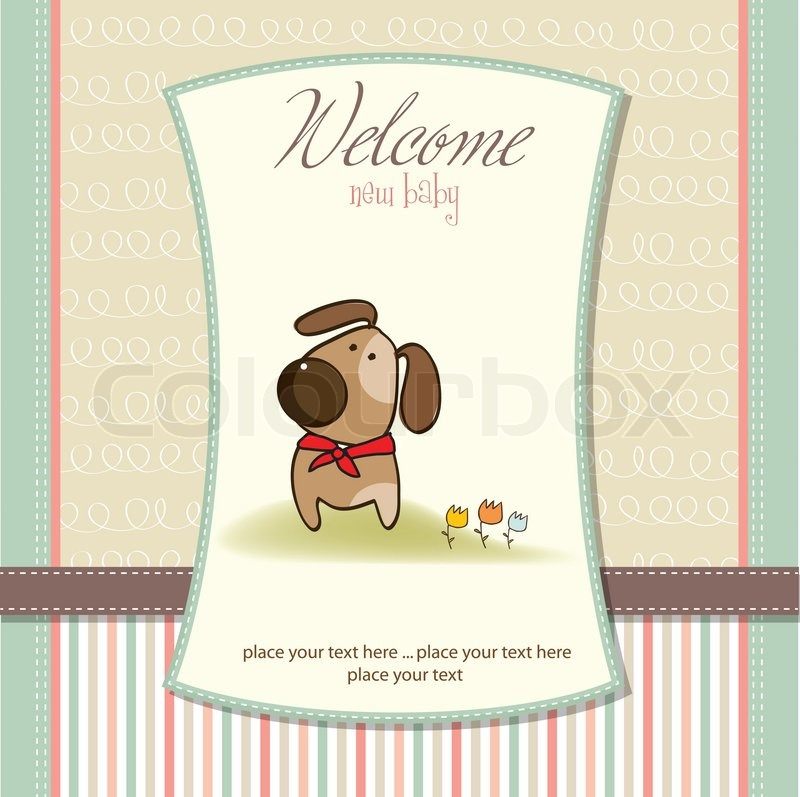 Baby shower invitation with dog | Stock Vector | Colourbox