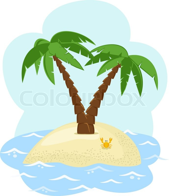Tropical island with two palm trees among the sea | Stock ...