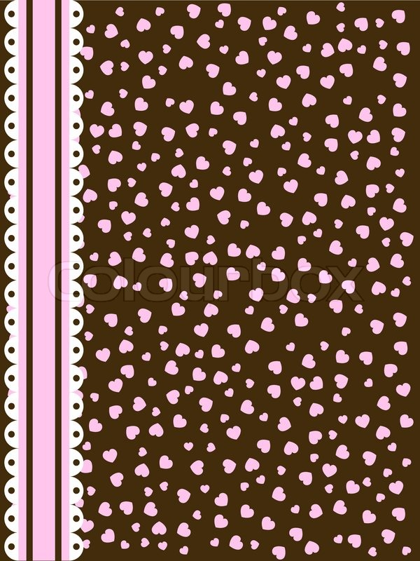 background with pink and brown hearts and lace stripe