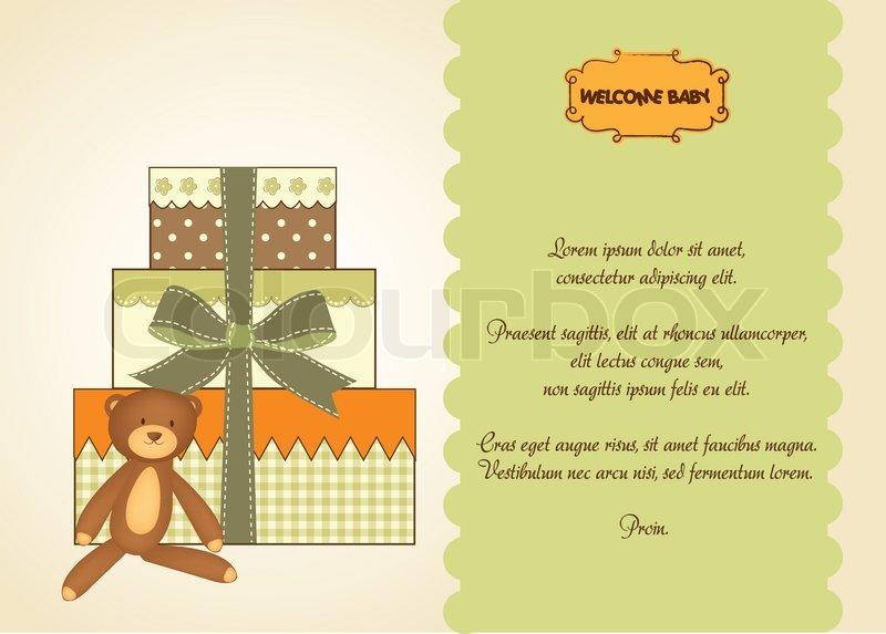 Baby Gift Vector : Baby shower card with gifts stock vector colourbox
