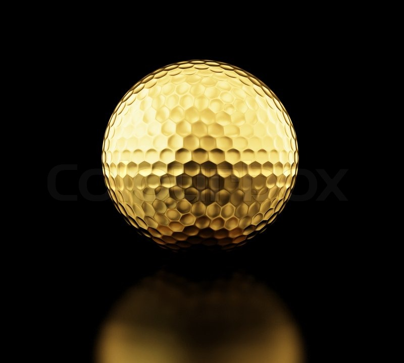 Gold golf ball on black background | Stock Photo | Colourbox