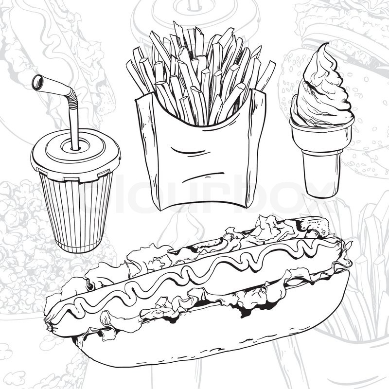 Line Drawing Food : Vector hand drawn fast food set on abstract background