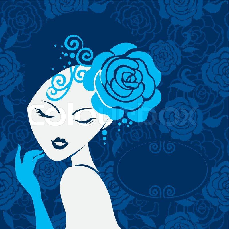 Retro Beautiful Woman Silhouette Stock Vector Colourbox