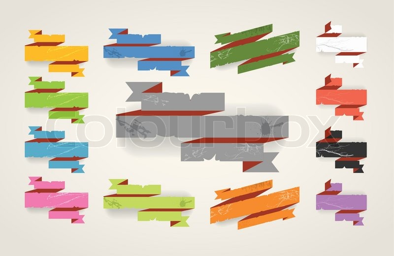 colorful polygonal origami folded vintage banners place your text