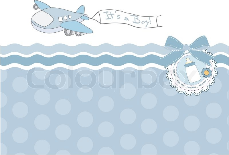 Beautiful Background With A Toy Airplane. Baby Shower Card, Vector