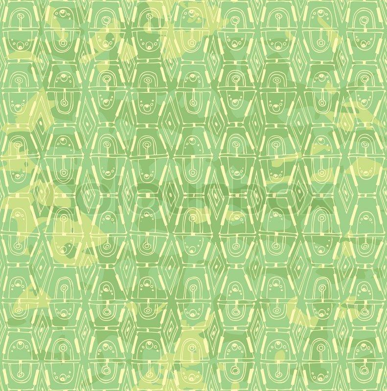 Nahtlose Inlay aus gelbgrüne Farbe gemalte Muster  Vektorgrafik