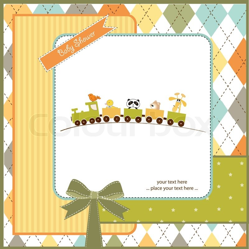 Baby shower invitation with animal train stock vector colourbox filmwisefo