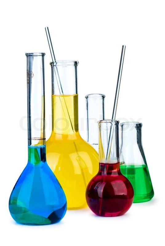 Stock image of five flasks with different chemical agents